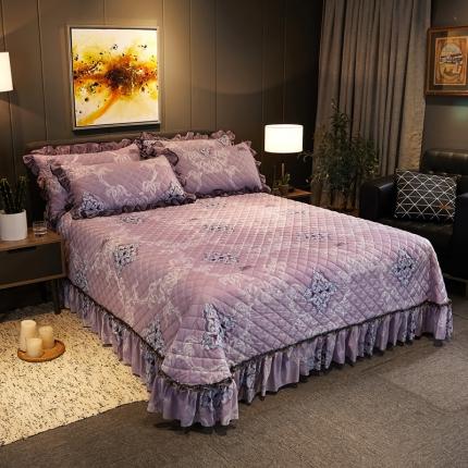 好眠好梦 2019水晶绒床盖款三件套 一见倾心-优雅紫