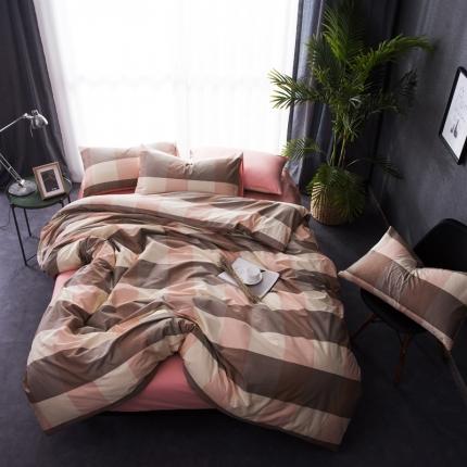 (总)6号家纺 新款纯棉13372格子贴边工艺系列床笠款