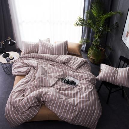 6号家纺 新款纯棉13372格子贴边工艺系列床单款条纹米咖