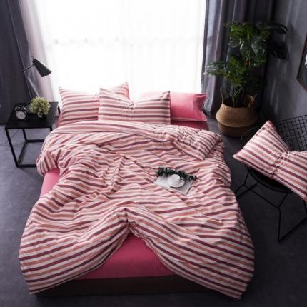 6号家纺 新款纯棉13372格子贴边工艺系列床单款条纹紫粉