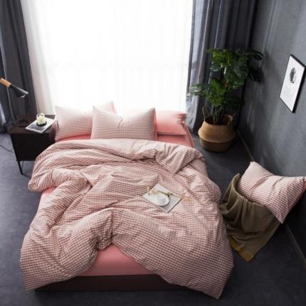 6号家纺 新款纯棉13372格子贴边工艺系列床单款小格子浅褐