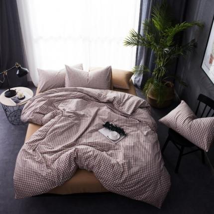 6号家纺 新款纯棉13372格子贴边工艺系列床单款小格子深褐
