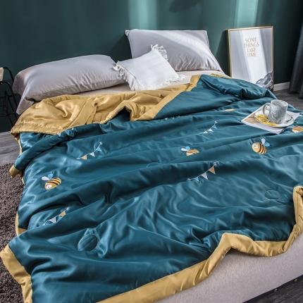 懒猫家纺 2020新款莫代尔天丝绣花夏被 小蜜蜂墨绿