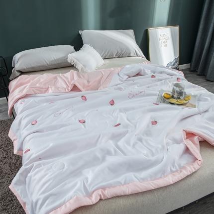 懒猫家纺 2020新款莫代尔天丝绣花夏被 小草莓白