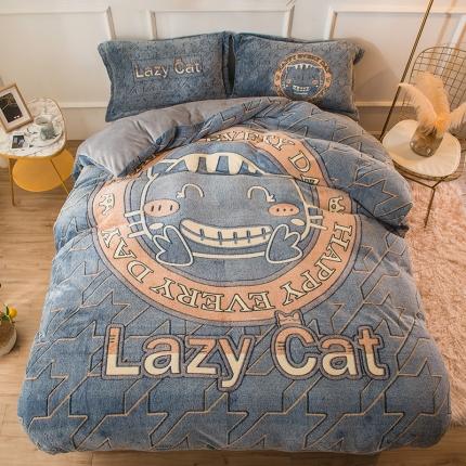 懒猫家纺 2020新款大版雪花绒四件套 小懒猫