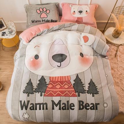 懒猫家纺 2020新款大版雪花绒四件套 小暖熊