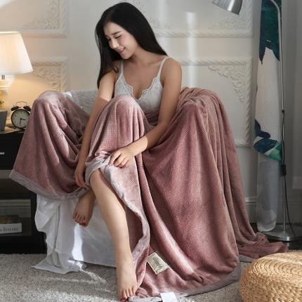 (总)品乐家纺 2018新款380g牛奶绒格子毛毯子法莱绒