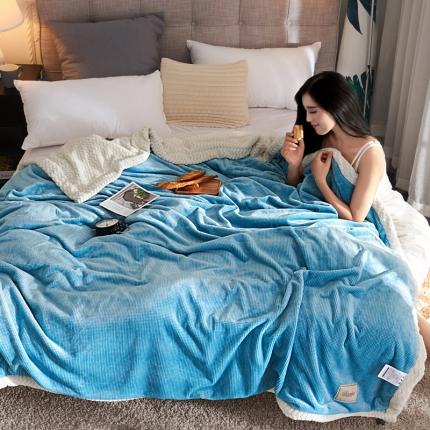 品乐家纺 2018新款双层牛奶绒贝贝绒毛毯 双层蓝格色