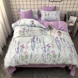 最初家纺 全棉13372纽扣款六件套新款紫衫画意