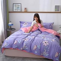 马先生 2019水晶绒四件套法兰绒四件套床单款 花满天(紫)