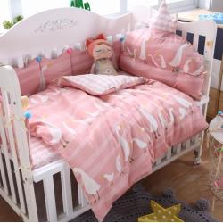 萌朵家纺 60全棉贡缎婴童床围套件 咏鹅-玉色