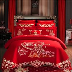 喜洋洋婚庆专供 40S全棉婚庆四件套床单款 爱的诺言