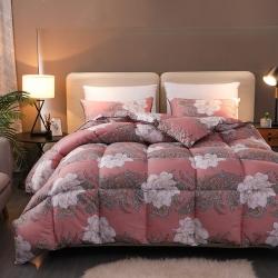 黛妮雅 2019大版活性印花斜纹防雨布羽绒被 爱的花海-红