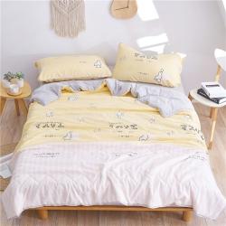 一户屋 亲肤柔丝棉夏被四件套和风物语系列 柠檬黄