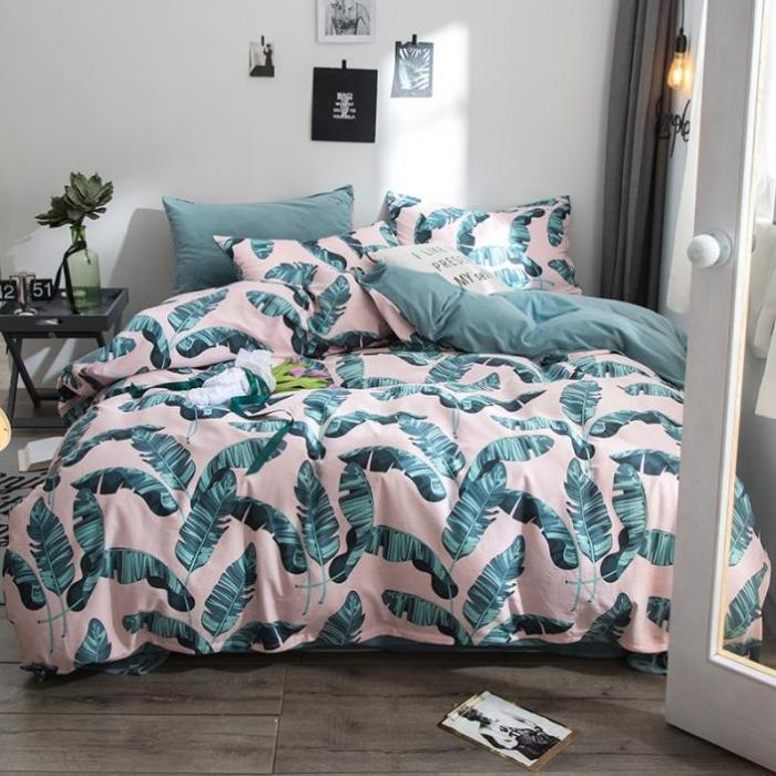 (總)藍鄰家紡 2018新款全棉+水晶絨四件套床笠款