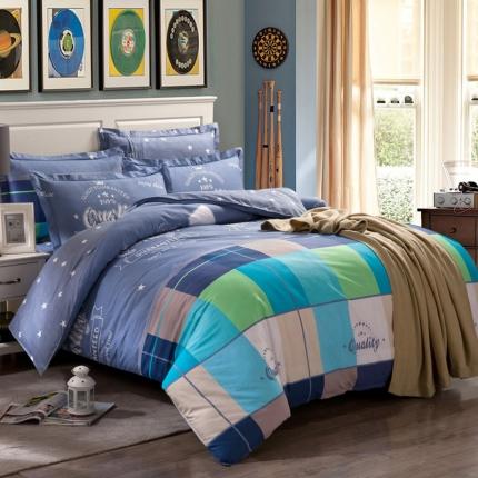 映爽家纺 特价花型纯棉活性印染四件套床上用品床单被套夏日摩卡