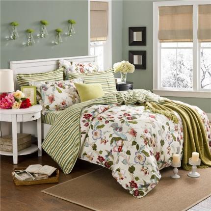 映爽家纺 特价花型纯棉活性印染四件套床上用品床单被套乡村印象
