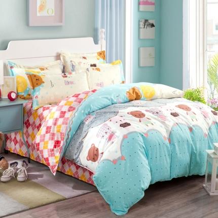 映爽家纺特价花型纯棉活性印染四件套全棉床上用品床单被套熊嘟嘟