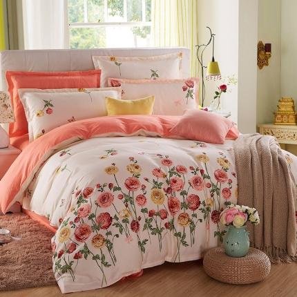 映爽家纺 特价花型纯棉活性印染四件套全棉床上用品床单被套约定