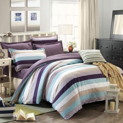 映爽家纺 特价花型纯棉活性印染四件套全棉床上用品床单被套韵律