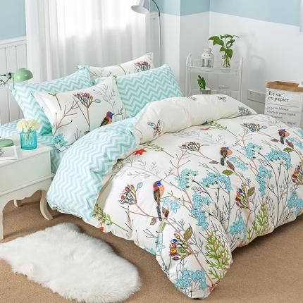 映爽家纺  独家花型全棉四件套纯棉床上用品床单被套 晚晴