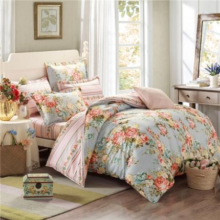 映爽家纺  独家花型全棉四件套纯棉床上用品床单被套 香馨园