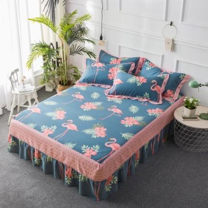 映爽家纺  全棉床裙床盖保护套单件 花鸟世界