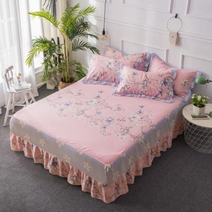 映爽家纺  全棉床裙床盖保护套单件 梦的花朵粉