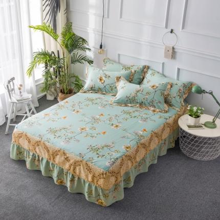 映爽家纺  全棉床裙床盖保护套单件 清馨花语