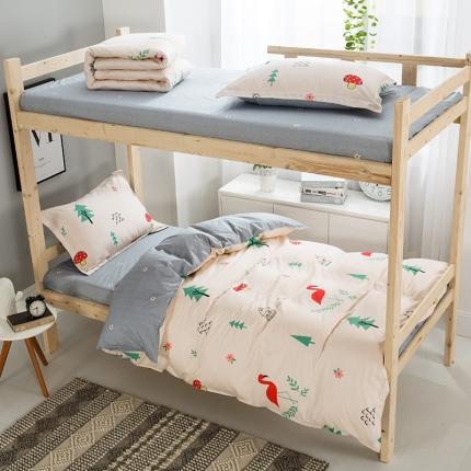 映爽家纺 全棉大学生宿舍三件套纯棉床上用品套件 浪漫小屋