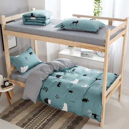 映爽家纺 全棉大学生宿舍三件套纯棉床上用品套件 森林麋鹿