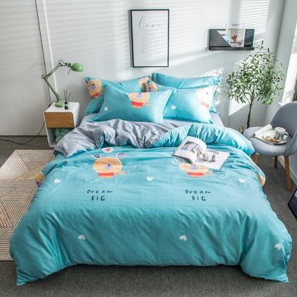 映爽家纺  2018年新款全棉四件套  床单 被套小熊比尔兰