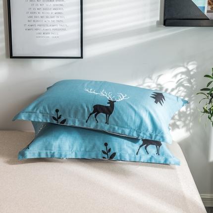 映爽家纺  2018新款全棉枕套单品森林麋鹿