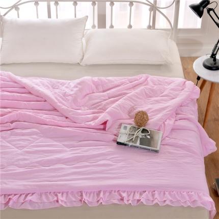 畅畅家纺 双边荷叶边简约时尚款水洗棉夏被 粉色