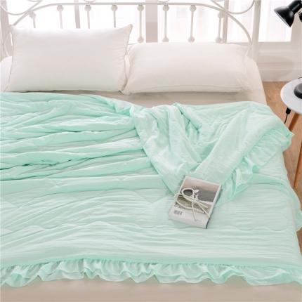 畅畅家纺 双边荷叶边简约时尚款水洗棉夏被 水绿