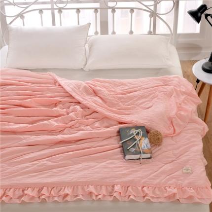 畅畅家纺 双边荷叶边简约时尚款水洗棉夏被 玉色
