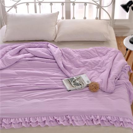 畅畅家纺 双边荷叶边简约时尚款水洗棉夏被 紫色
