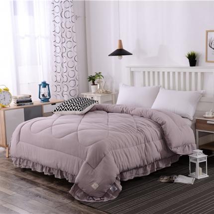 (总)畅畅家纺 简约时尚双层荷叶边纯色水洗棉冬被
