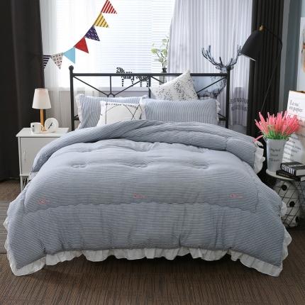 畅畅家纺 韩版荷叶边时尚小清新条纹水洗棉冬被  小清新灰色