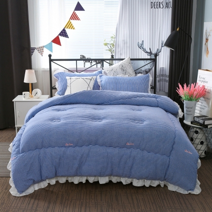 畅畅家纺 韩版荷叶边时尚小清新条纹水洗棉冬被  小清新蓝色