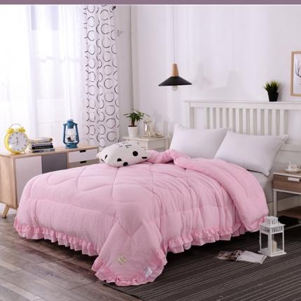 畅畅家纺 简约时尚双层荷叶边纯色水洗棉冬被    粉红色