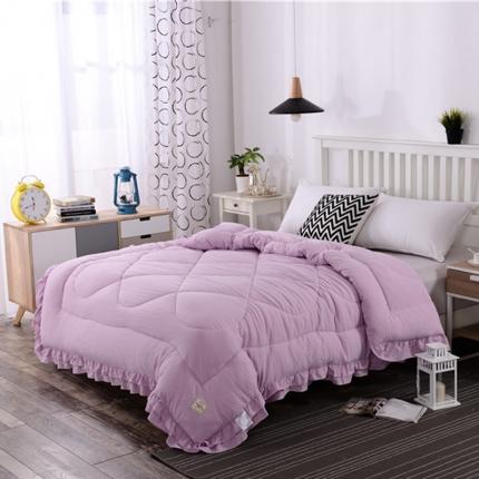 畅畅家纺 简约时尚双层荷叶边纯色水洗棉冬被   紫色