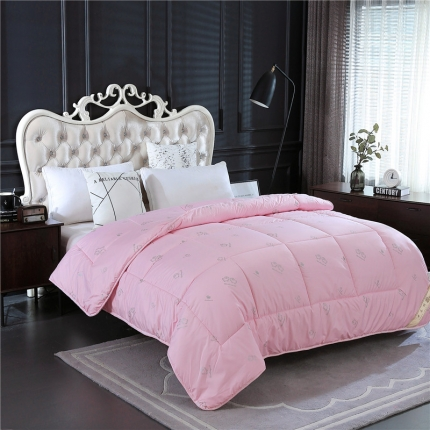 畅畅家纺 加厚保暖羊毛被芯冬被棉被粉红色