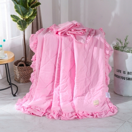 (总)畅畅家纺 双层荷叶边水洗棉夏被空调被夏凉被可搭配四件套