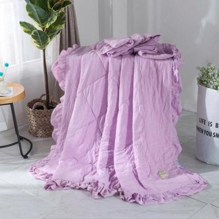 畅畅家纺 双层荷叶边水洗棉夏被空调被夏凉被可搭配四件套紫色