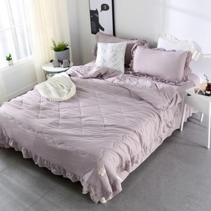 畅畅家纺 双层荷叶边水洗棉夏被空调被夏凉被可搭配四件套灰色