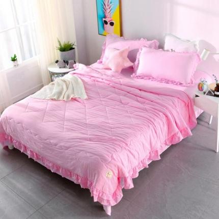 畅畅家纺 双层荷叶边水洗棉夏被空调被夏凉被可搭配四件套粉色