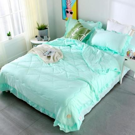 畅畅家纺 双层荷叶边水洗棉夏被空调被夏凉被可搭配四件套水绿