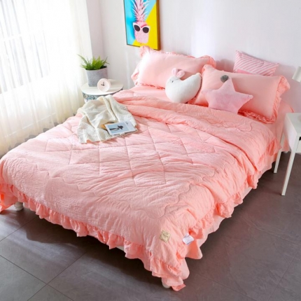畅畅家纺 双层荷叶边水洗棉夏被空调被夏凉被可搭配四件套玉色