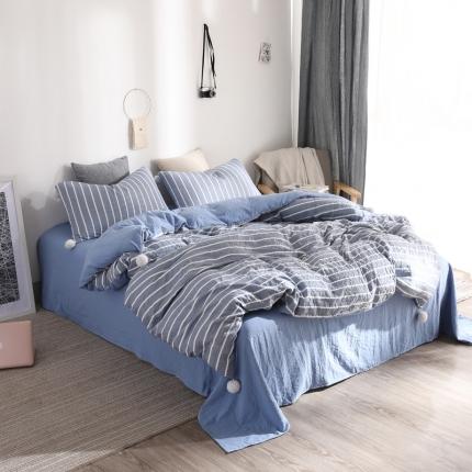 优悦 西西里系列水洗棉四件套床笠款 西西里兰白条